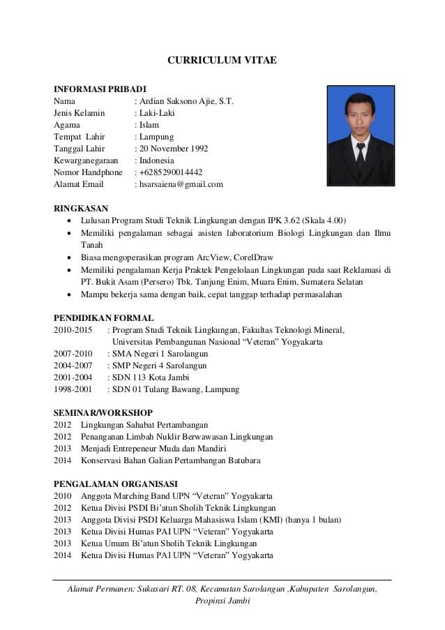 Contoh CV Mahasiswa