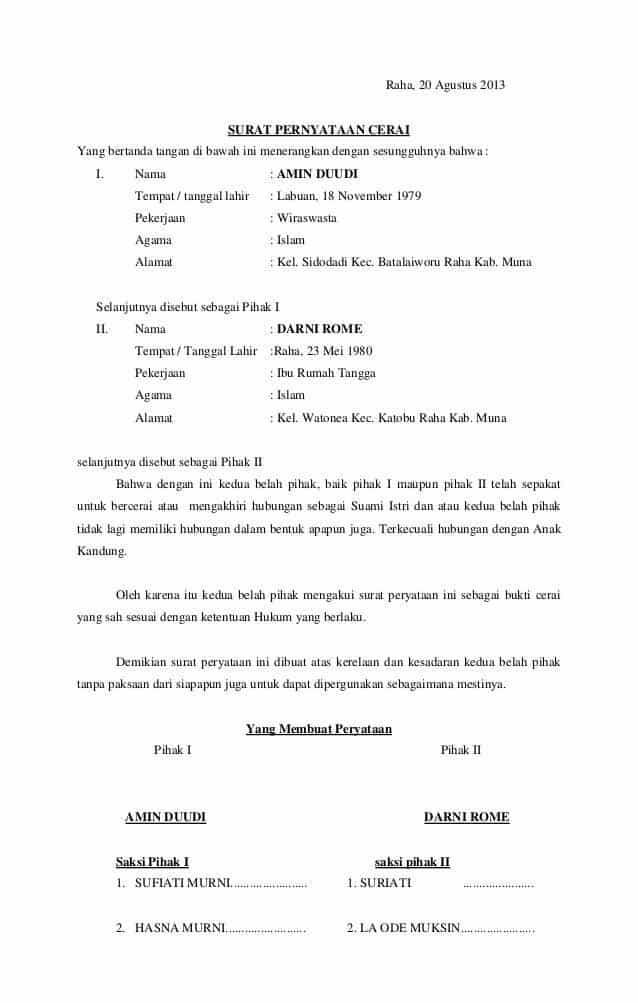 Contoh Surat Pernyataan Cerai