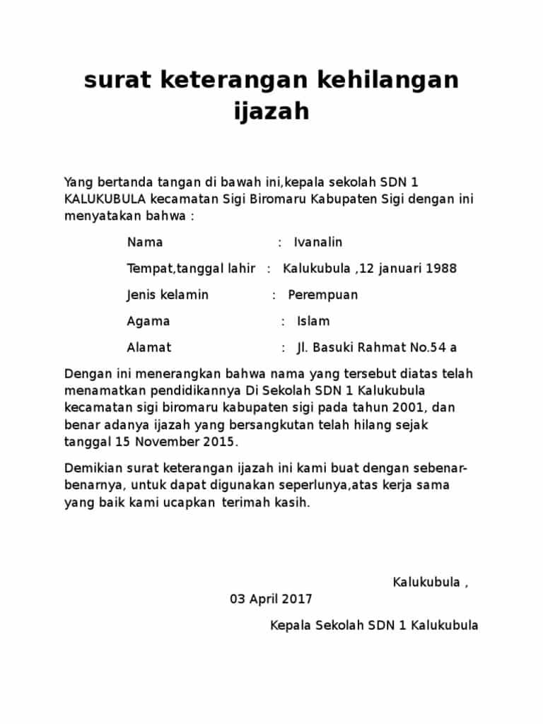 Contoh Surat Pernyataan Kehilangan Ijazah