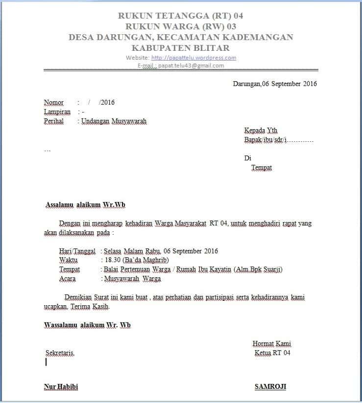 Contoh Surat Undangan RT