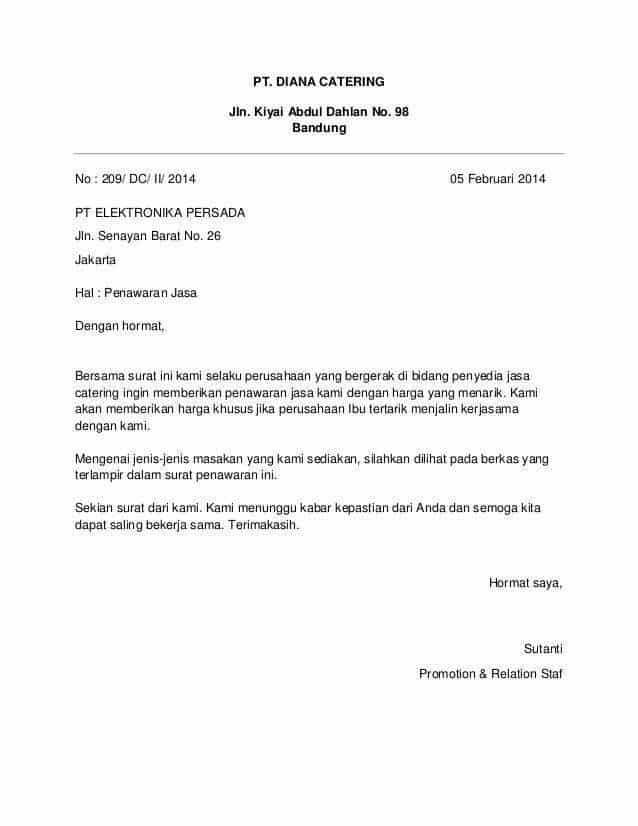 Contoh Surat Penawaran Jasa Catering