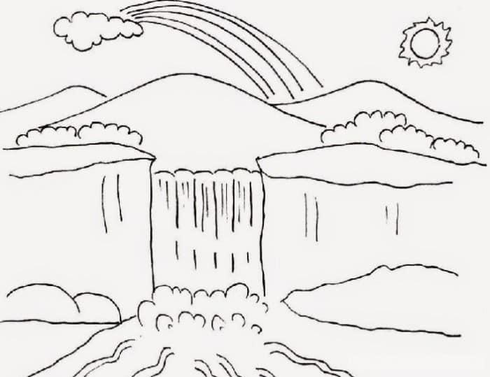 Contoh Gambar Sketsa Air Terjun dan Pegunungan