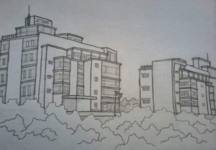 Contoh Gambar Sketsa Gedung