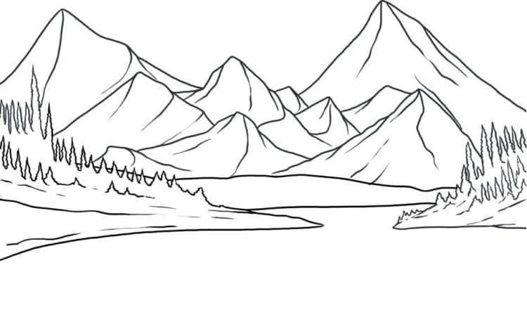 Contoh Gambar Sketsa Gunung
