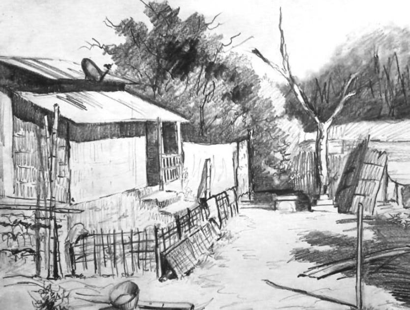 Contoh Gambar Sketsa Perkampungan