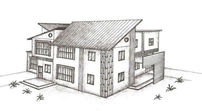 Contoh Gambar Sketsa Rumah