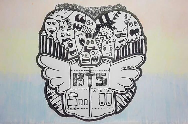 Karakteristik Dari Gambar Doodle Art BTS