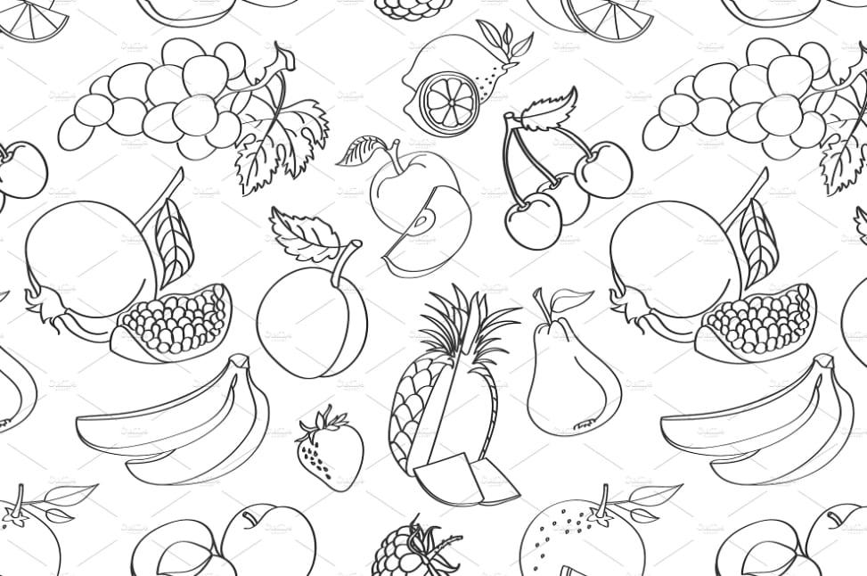 Karakteristik Doodle Art Buah-buahan