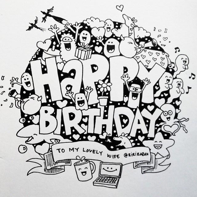 Karakteristik Gambar Doodle Art Ulang Tahun
