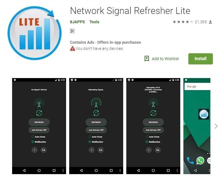 Aplikasi Penguat Sinyal-Network Signal Refresher Lite