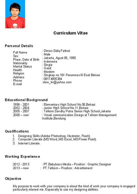 contoh cv penerima beasiswa