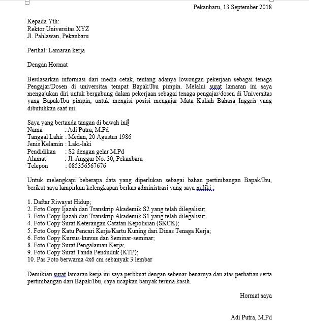 CONTOH SURAT LAMARAN KERJA BERBAHASA INDONESIA